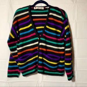 Vintage chaus angora/wool rainbow cardigan